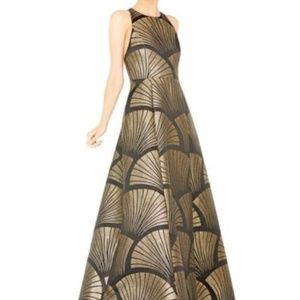 Alice+Olivia Janessa Black & Gold floor-length